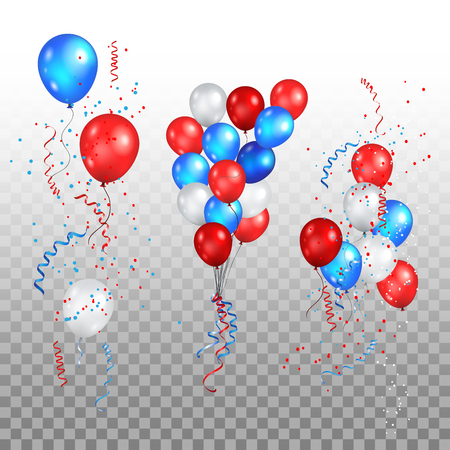 Color holiday balloons in traditional colors - red, white, blue. Holiday ballons set on transparent background.