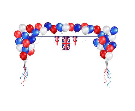 United Kingdom symbols set flag banner