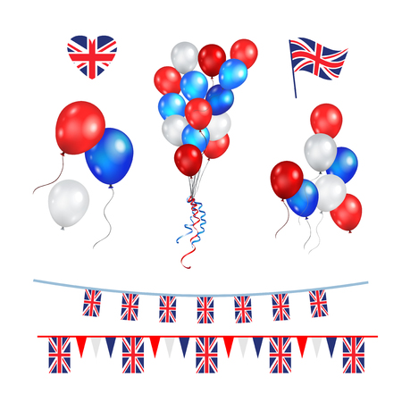 Color balloons and Union Jack flag