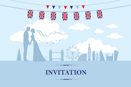 Couple in London 向量圖像