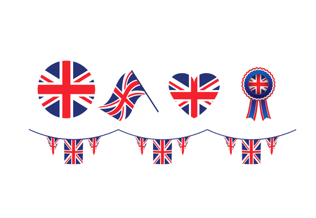 United Kingdom symbols set flags