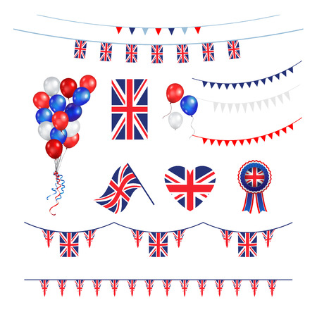 Union Jack flag design elements Illustration