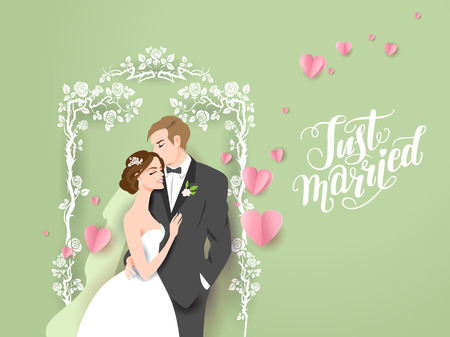 Wedding illustration of bride and groom