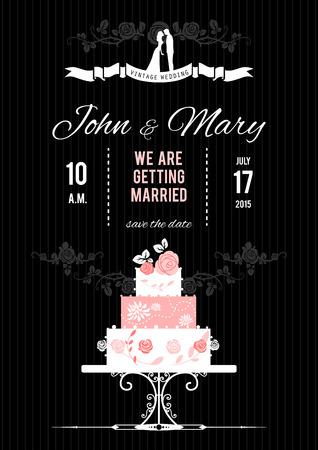 Vector wedding card with wedding cake