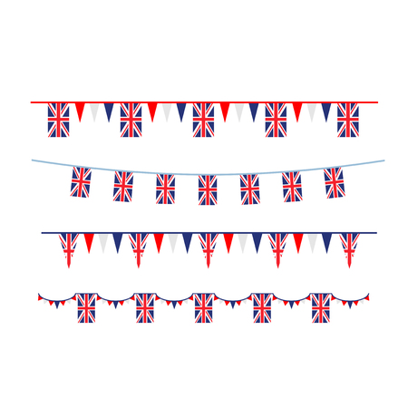 Union Jack flag and objects for design. United Kingdom symbols set flag, badge, emblem
