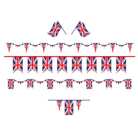 Union Jack flag and objects for design. Decorations symbols set. United Kingdom symbols set flag, badge, emblem Illustration