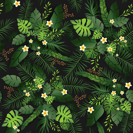 Green leaves and flower Seamless pattern