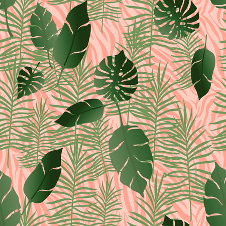 Exotic Floral Seamless Pattern Background.
