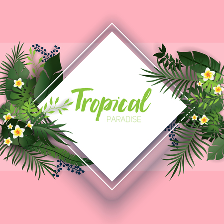 Pink tropical card Vetores