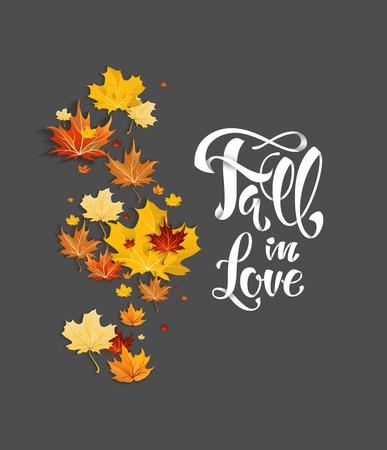 Hojas de otoño sobre fondo oscuro