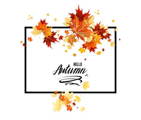 Branche d'érable d'automne rouge pour bannière de conception, billet, dépliant, carte, affiche, etc. Cadre de saison d'automne. Bonjour inscription d'automne Vecteurs