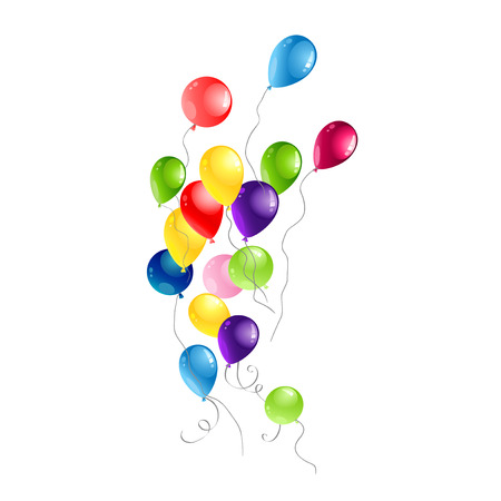 Color Balloons for design banner, ticket, leaflet, card, poster and so on. Happy birthday background and balloons Stock Vector - 114863976