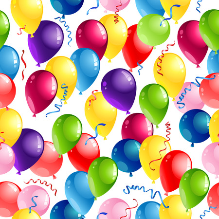 Holiday seamless pattern for design banner, ticket, leaflet, card, poster and so on. Happy birthday background and balloons