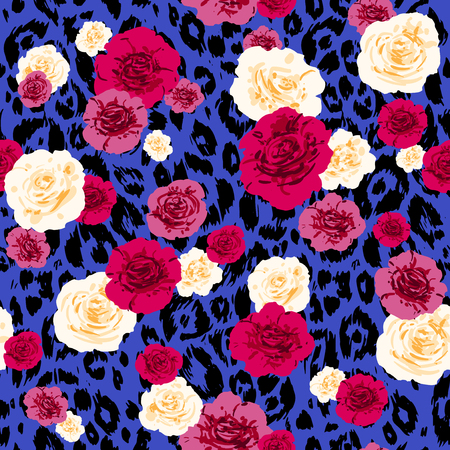 Fashion animal skin and flowers. Textured seamless pattern. Nature background.