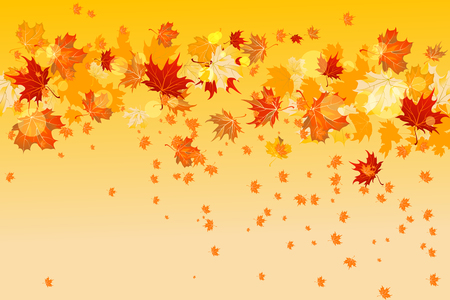 Background with maple autumn leaves. Hello autumn card.