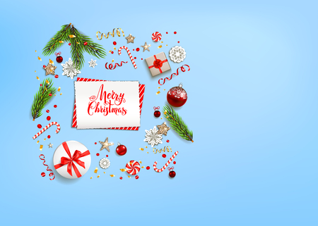 Blue flat lay Christmas composition with fir tree branches on holiday background. Place for text. Top view of Natural design elements. Festive background with gift boxes and decorations. Illustration