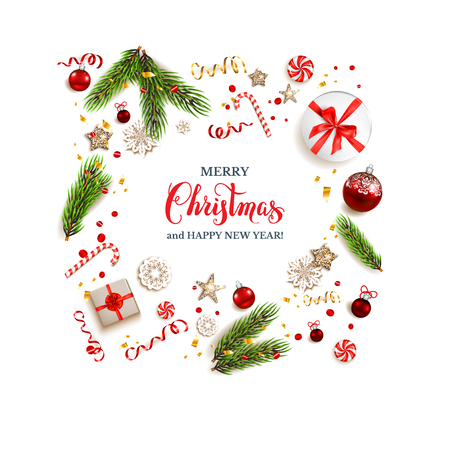 Top view of festive design elements. Winter background with gift boxes and decorations. Flat lay Christmas composition with fir tree branches on holiday background.