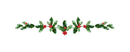 Weihnachtsfest festliche Stechpalmendekoration. Feiertagsnatur-Gestaltungselement für Entwurfsfahne, Ticket, Plakat, Einladung oder Karte, Faltblatt und so weiter.