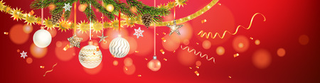 Red and shine holiday banner