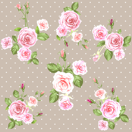 Pink Vintage roses pattern Stock Photo