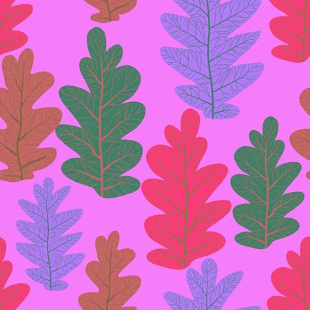 Decorative leaves seamless pattern. Nature stylized plants decorative background Ilustração