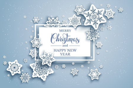 Winter holiday paper cut background. Snowflakes christmas decoration for design banner, ticket, invitation, greetings, leaflet and so on. Realistic effect.