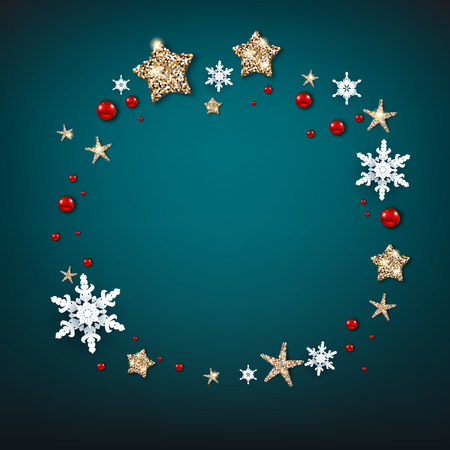 Shine decoration wreath with snowflakes, stars and balls. Winter holiday Christmas design for banners, advertising, leaflet, cards, greeting, invitation and so on.