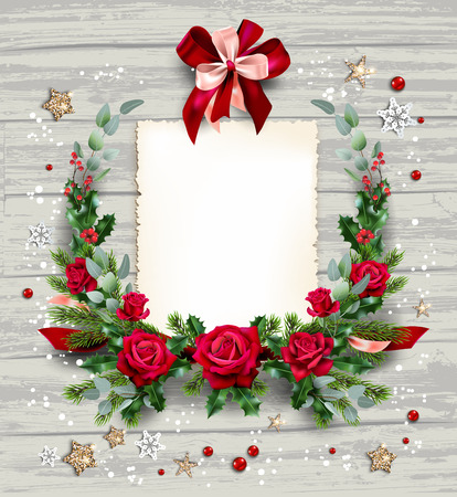 Christmas festive wreath with roses and pine for banner, ticket, leaflet, card, invitation, poster and so on. Holiday card with fir tree and festive decorations balls, stars, snowflakes on wood background.