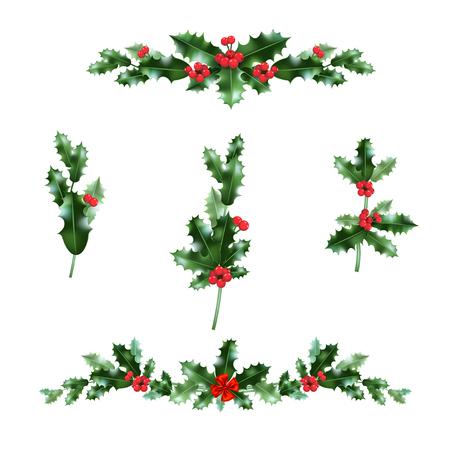 Christmas holly elements. Nature holiday set. Festive design for cards, invitation, poster, banner, advertising and so on. Ilustração