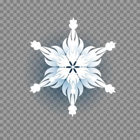 Paper cut snowflake icon. Seasonal symbol on transparent background.
