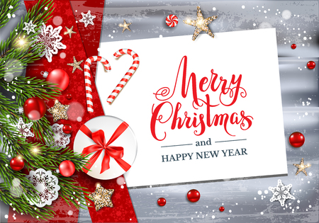 Christmas festive template for banner, ticket, leaflet, card, invitation, poster and so on. Holiday card with fir tree and festive decorations balls, stars, snowflakes on wood background. Ilustração