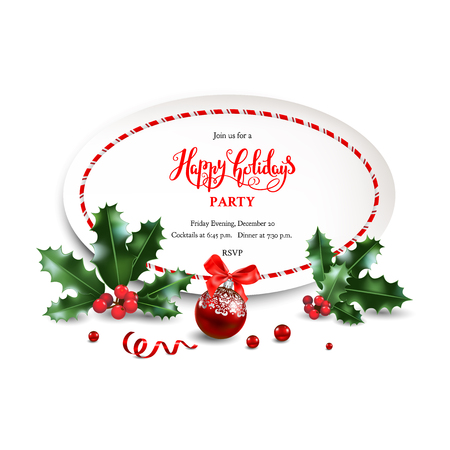 Christmas festive design for banner, ticket, leaflet, card, invitation, poster and so on. Holiday frame with fir tree and festive decorations balls and holly on white background. Ilustração
