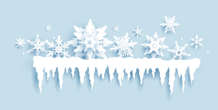 Winter holiday realistic paper cut snowflakes and icicles. Snow christmas decoration for design banner, ticket, invitation, greetings, leaflet and so on.