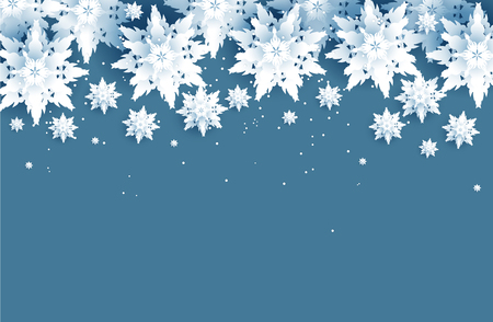 Winter holiday realistic paper cut snowflakes. Snow christmas decoration for design banner, ticket, invitation, greetings, leaflet and so on. Ilustração