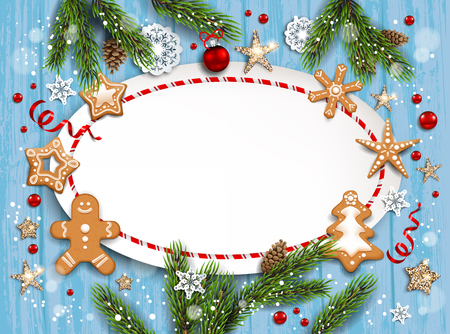 Christmas festive template for banner, ticket, leaflet, card, invitation, poster and so on. Holiday card with fir tree and festive decorations balls, stars, snowflakes and gingerbreads on wood background. Ilustração