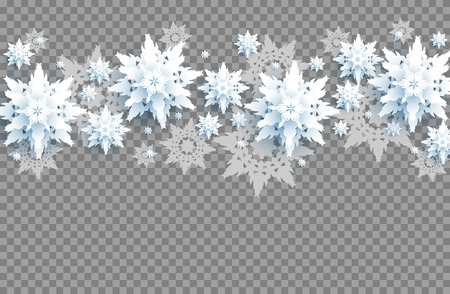 Paper cut snowflake decor. Seasonal symbol on transparent background.