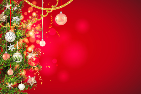 Red bright fairy background template with beautiful Christmas tree branches, Holiday decorations and lettering. Christmas gifts, balls, stars, golden tinsel and confetti. Ilustração