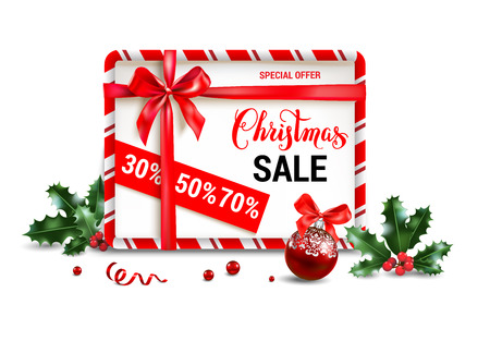 Christmas sale design for banner, ticket, leaflet, card, invitation, poster and so on. Holiday frame with fir tree and festive decorations balls and holly on white background.