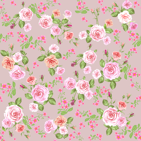 Floral pattern background with pink roses. Repeating vintage seamless pattern.