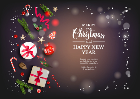 Holiday card with Christmas decorations and balls, stars, gift boxes, fir tree branches on dark background. Christmas festive template.