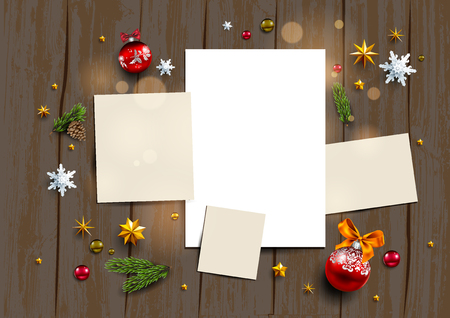Holiday mock up with festive card and decorations balls, stars, snowflakes on wood background. Christmas festive template flat lay.