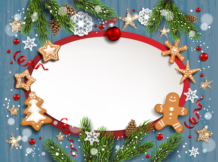 Holiday illustration with balls, gingerbreads, stars, snowflakes on wood background. Christmas festive template.