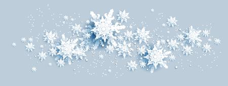 Web Banner Social Media template. Shine winter decoration with snowflakes, stars and balls. Ilustração