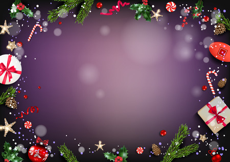 Holiday card with Christmas decorations and balls, stars, gift boxes, fir tree branches on violet background. Christmas festive template. Ilustração