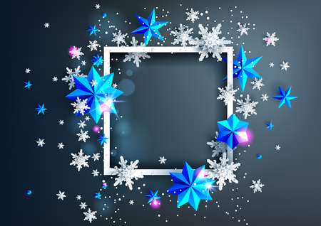 Realistic frame with place for text template. Shine winter decoration on dark background with snowflakes and stars Ilustração