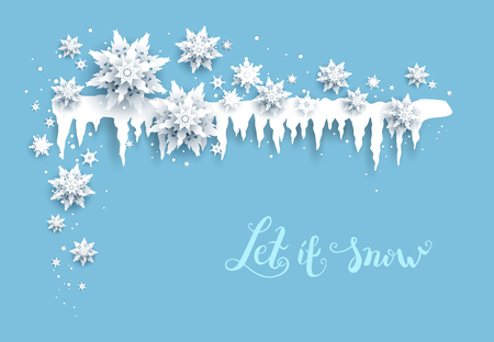 Winter holiday realistic paper cut snowflakes and icicles. Snow christmas decoration for design banner, ticket, invitation, greetings, leaflet and so on. Nature symbol banner. Ilustração