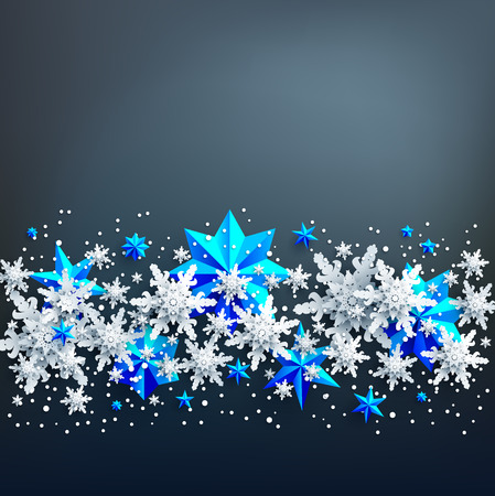 Realistic shine Banner with place for text template. Shine winter decoration on dark background with snowflakes and stars