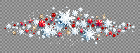 Web Banner Social Media template. Winter luxury decoration with snowflakes, stars and balls on transparent background