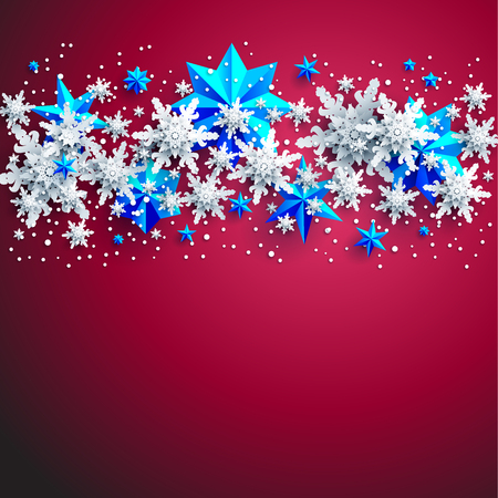 Realistic shine Banner with place for text template. Shine winter decoration on red background with snowflakes and stars