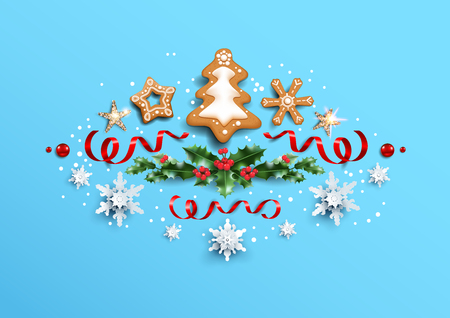 Holiday design with festive card and decorations balls, stars, snowflakes on blue background. Christmas festive template.
